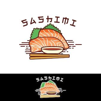 Sashimi logo cibo giapponese carne cruda vettore