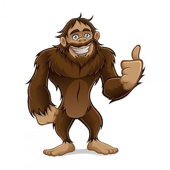 Sasquatch in piedi sorridendo amichevole e un pollice in su