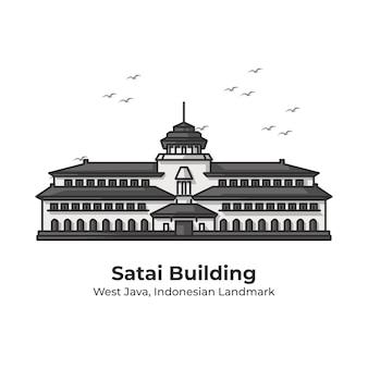 Satai edificio punto di riferimento indonesiano carino illustrazione al tratto
