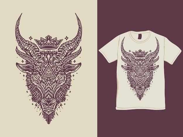 Design della maglietta con testa di demone baphomet satanico