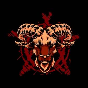 Illustrazione di vettore della testa di capra satanica. adatto per magliette, stampe e prodotti di abbigliamento