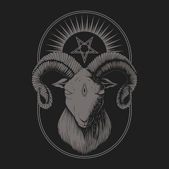 Illustrazione di capra satanica