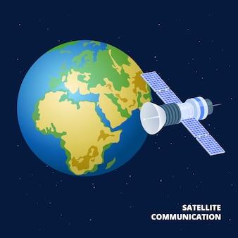 Illustrazione isometrica di comunicazione satellitare. nave spaziale e terra