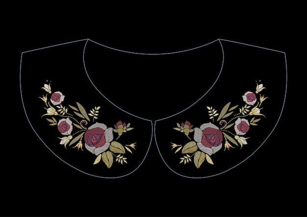 Ricamo a punto raso con rose. motivo floreale alla moda linea folk per colletto.