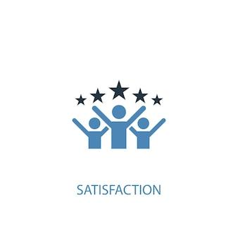 Concetto di soddisfazione 2 icona colorata. illustrazione semplice dell'elemento blu. disegno di simbolo del concetto di soddisfazione. può essere utilizzato per ui/ux mobile e web