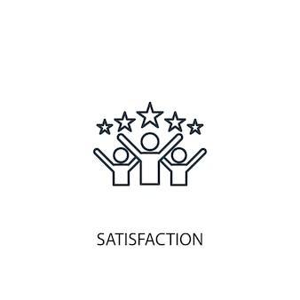 Icona della linea del concetto di soddisfazione. illustrazione semplice dell'elemento. disegno di simbolo di contorno del concetto di soddisfazione. può essere utilizzato per ui/ux mobile e web