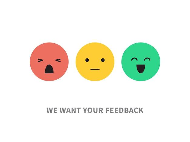 Soddisfazione cliente concetto illustrazione vettoriale isolato su bianco emozioni feedback scale