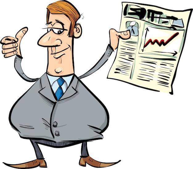 Uomo d'affari soddisfatto con il giornale