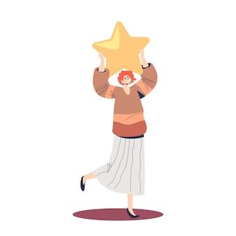 Donna soddisfatta con un servizio di classificazione dei clienti con stella d'oro che fornisce feedback di alto livello al sondaggio. concetto di sistema di revisione dell'utente, del consumatore o del cliente. cartoon piatto illustrazione vettoriale