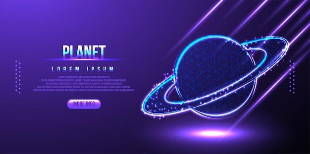 Saturno, pianeta poligonale low poly wireframe sfondo