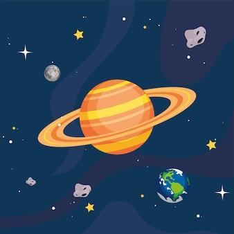 Saturno e pianeti nello spazio dell'universo