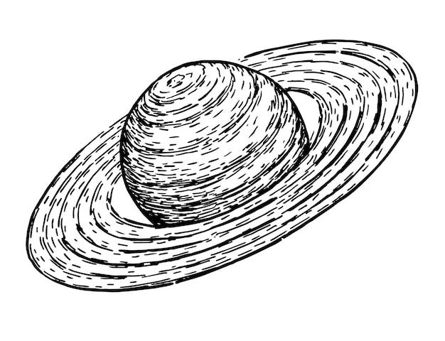 Saturno stile schizzo vettoriale per la decorazione e la stampa di poster schizzo disegnato a mano del pianeta saturno