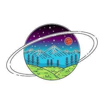 Saturno con monoline di mountain view
