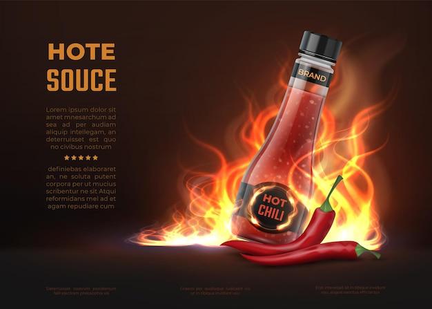 Annuncio di salsa. bottiglia di vetro 3d realistica con salsa di peperoncino piccante piccante, sfondo pubblicitario con fuoco e pepe. disegno del prodotto caldo della cucina dell'illustrazione di vettore per i banner culinari