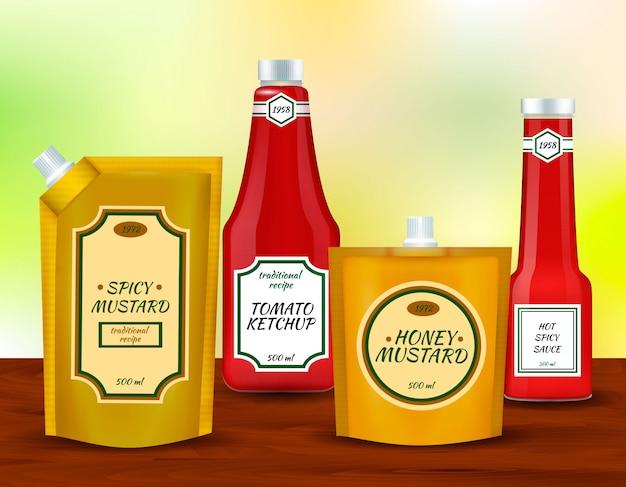 Insieme realistico di pacchetti di bottiglie di salsa