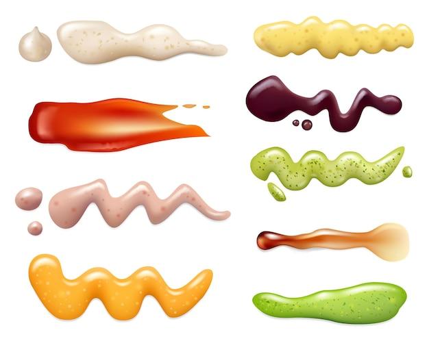 Spruzzi di salsa. pomodoro liquido per barbecue curry deliziosi ingredienti alimentari maionese modelli realistici di vettore impostati. salsa barbecue di illustrazione, crema di maionese realistica