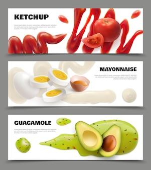 Set di banner orizzontali realistici con macchie di salsa