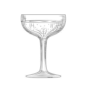 Bicchiere piattino. schizzo di bicchiere di champagne disegnato a mano. bicchiere da spumante pieno. stile di incisione. illustrazione vettoriale isolato su sfondo bianco.