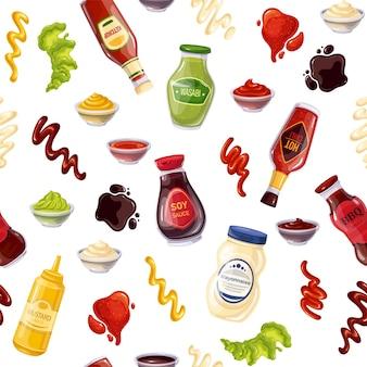 Bottiglia di salse e ciotole senza cuciture, illustrazione vettoriale. sfondo con salsa di soia, ketchup, maionese, wasabi, peperoncino piccante, senape, barbecue, strisce splash, gocce e macchie.