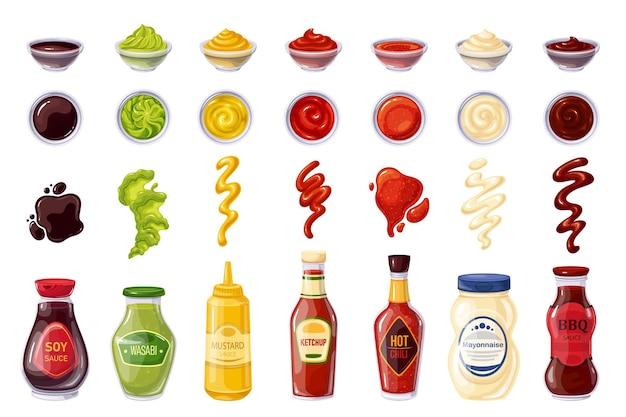 Bottiglia e ciotole per salse, salsa di soia, ketchup, maionese, wasabi, peperoncino piccante, senape, barbecue, strisce spruzzate, gocce e macchie