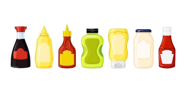 Salse impostate. bottiglie con ketchup, maionese, wasabi, senape in stile cartone animato. icone del cibo, mock up di imballaggi in plastica. illustrazione vettoriale su uno sfondo isolato
