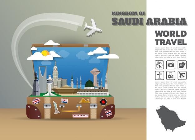 Bagagli globali di infographic di viaggio e di viaggio del punto di riferimento dell'arabia saudita. design template./illustration.