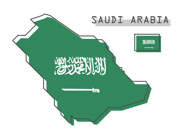 Mappa e bandiera dell'arabia saudita