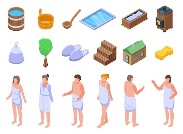 Set di icone di sauna, stile isometrico