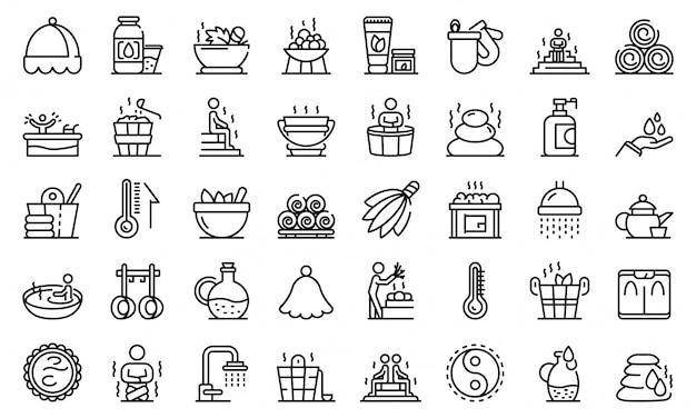 Set di icone di sauna Vettore Premium