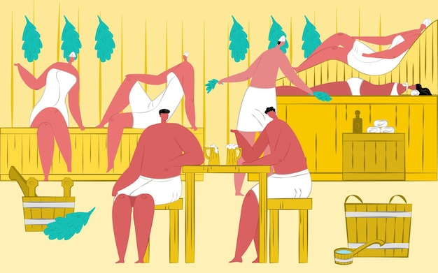 Illustrazione di sauna con uomini rilassati