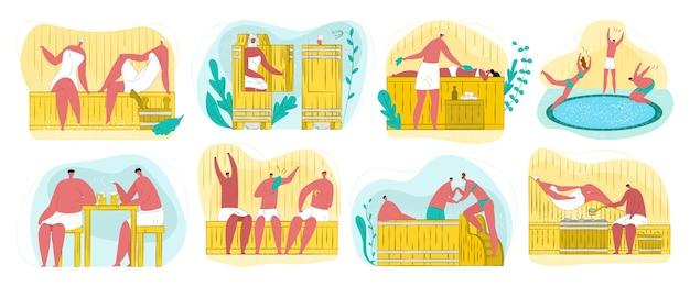 Sauna, spa e bagno turco per il benessere del corpo, relax, set di procedure di pulizia. persone che godono di vapore caldo, massaggi e sauna, ramoscelli di betulla. spa e bagno terapia.