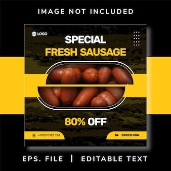 Promozione di social media di vendita di cibo di salsiccia e design di banner di instagram