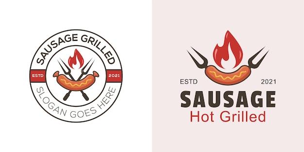 Salsiccia grigliata calda logo per barbecue logo con due versioni