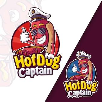 Logo della mascotte del capitano dell'hot dog della salsiccia