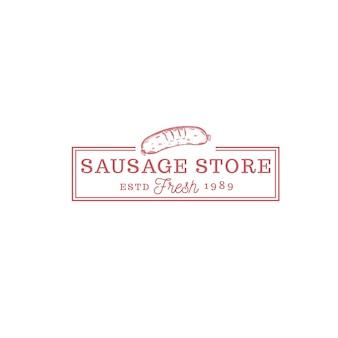 Logo vintage del cibo del negozio di salsicce