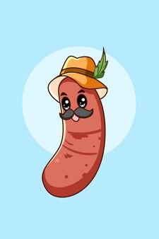 Salsiccia con cappello all'illustrazione del fumetto più oktoberfest