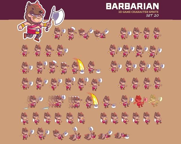 Sprite selvaggio di animazione del carattere del gioco del fumetto della tribù di barbarian