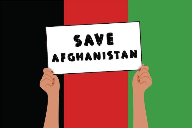 Salva l'afghanistan banner nelle mani di donna guerra e violenza simbolo di protesta su sfondo colore bandiera vect...