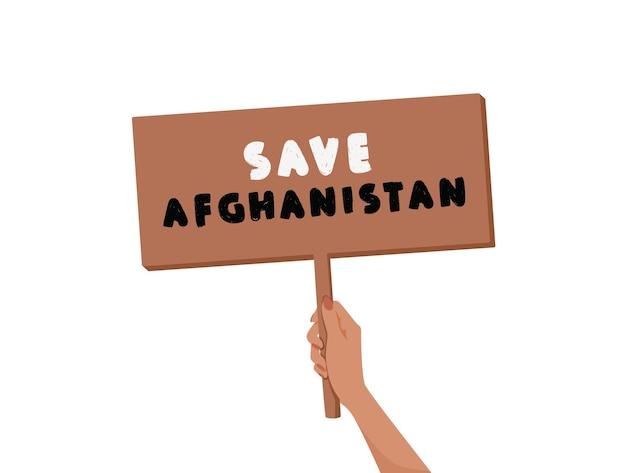 Salva l'afghanistan banner nelle mani della donna simbolo di protesta di guerra e violenza isolato su sfondo bianco ...