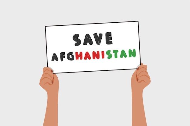 Salva bandiera afghanistan in donna mani guerra e violenza protesta simbolo vettore piatto illustrazione