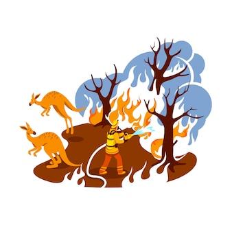 Salva banner web 2d foresta in fiamme, poster. fuoco nella giungla. vigile del fuoco in caratteri piatti boschi australiani su priorità bassa del fumetto. patch stampabile wildfire, elemento web colorato