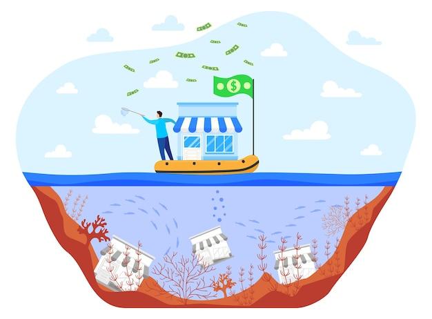 Salvare gli affari durante l'illustrazione vettoriale piatta di crisi. uomo d'affari del fumetto che salva la piccola impresa sulla barca, falliti infelici non salvati annegano nell'acqua di mare