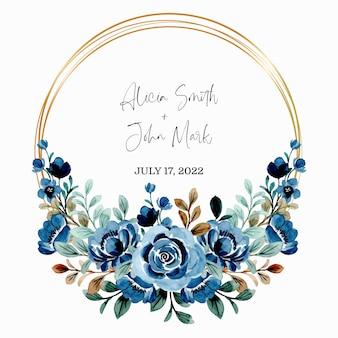 Salva la data. acquerello di corona floreale blu con cornice dorata