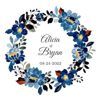Salvare la corona floreale blu data con acquerello