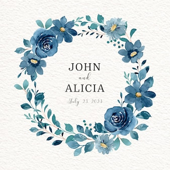 Salva la data corona floreale blu con acquerello