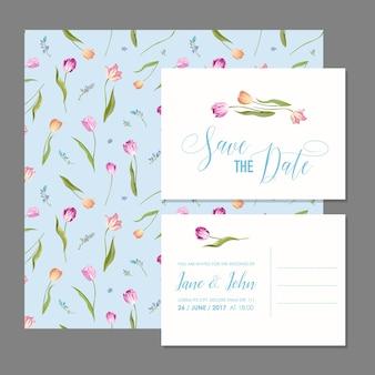 Set di biglietti save the date con fiori di tulipani in fiore
