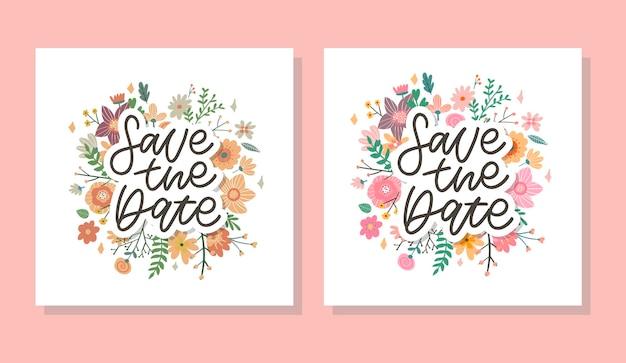 Salva la data card impostata con ghirlanda floreale