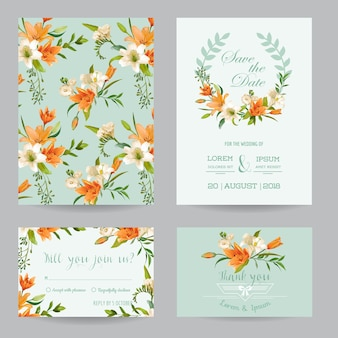 Salva la data card - set di inviti di nozze - tema floreale del giglio autunnale