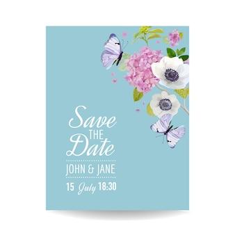 Salva il modello di invito a nozze con carta data. scheda botanica con fiori di ortensia e farfalle. cartolina floreale di auguri