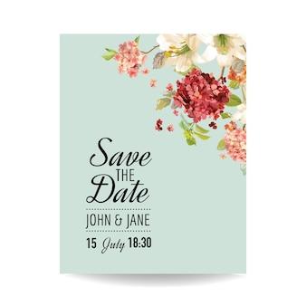 Save the date card con fiori di ortensia vintage autunnali per matrimoni, inviti, feste in